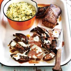 Mushrooms with Herb Couscous & Lamb