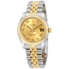 Rolex Datejust Lady 31 Champagne Dial Stainless Steel and 18K Yellow Gold Jubilee Bracelet Automatic Watch 178243CRJ - Datejust Lady 31 - Rolex - Watches - Jomashop