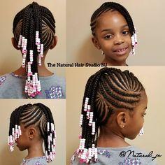 Kids Cornrow Hairstyles, Toddler Braided Hairstyles, Little Girl Braid Hairstyles, Natural Hairstyles For Kids, Baby Girl Hairstyles, Natural Hair Styles, Cornrows For Little Girls, Little Black Girls Braids, Little Girl Braid Styles