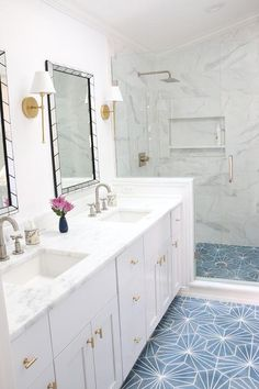 White And Gold Bathroom With Blue Cement Tile Floor Blue Bathroom Tile Ideas Kid Bathroom Decor, Gold Bathroom, Bathroom Renos, Bathroom Ideas, Master Bathroom, Bathroom Inspiration, Cement Tiles Bathroom, Bathroom Flooring, Gold Bad
