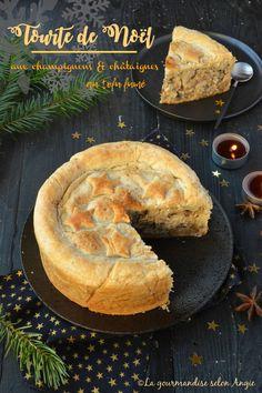 Christmas vegetable pie - mushroom, chestnuts and smoked tofu - vegan - cuisine et gateau - Uk Recipes, Veggie Recipes, Vegan Recetas, Vegan Vegetarian, Vegetarian Recipes, Plat Vegan, Vegetable Pie, Vegan Christmas, Christmas Recipes