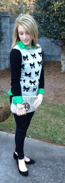 A Preppy State of Mind: Black And Bows With A Pop Of Green