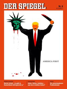 """Beheaded Liberty"" Cover ilustration for Der Spiegel. Limited edition prints by Edel Rodriguez available at R. Michelson Galleries or rmichelson.com"