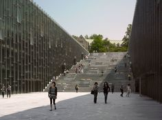 Image 1 of 56 from gallery of Ewha Womans University / Dominique Perrault Architecture. Photograph by André Morin University Architecture, Stairs Architecture, Architecture Magazines, Architecture Details, Landscape Architecture, Rustic Stairs, Building Stairs, Asia, Architectural Section