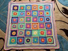 Happy flowers crochet blanket