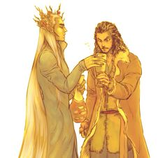 Bard and Thranduil <<< haha! he gave Bard some Dorwinion! Man, that wine must be potent stuff!