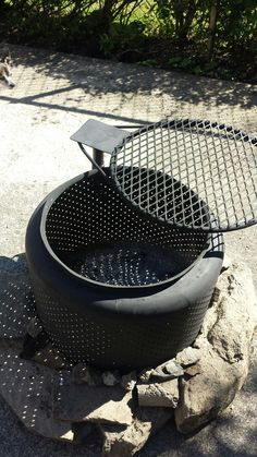 Reuse, recycle, up cycle Washing machine drum/kitchen sink fire pit, BBQ Fire Pit Drum, Diy Fire Pit, Fire Pits, Washer Drum, Washing Machine Drum, Concrete Fireplace, Fire Pit Designs, Rocket Stoves, Outside Living