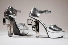 Chanel silver gun heels