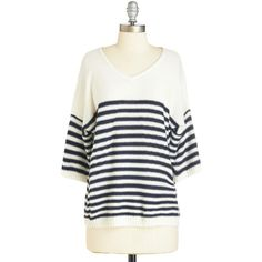 ModCloth Nautical Mid-length Short Sleeves Love at First Stripe... ($12) ❤ liked on Polyvore featuring tops, sweaters, shirts, apparel, cream, pullover, white sweater, white striped shirt, white shirt and pullover sweater