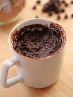 Chocolate Cake in a Mug recipe from Ree Drummond via Food Network - I tried this and it was actually good. I would reduce the amount of chocolate chips though, (surprisingly) it was a bit too chocolately. Mug Recipes, Sweet Recipes, Cake Recipes, Dessert Recipes, Recipies, Tofu Recipes, Frosting Recipes, Cookies Cupcake, Cupcakes