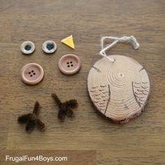 Wood Slice Owl Ornaments