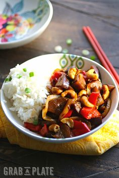 Spicy Eggplant Stir-Fry with Cashews is a hearty, meatless dish you'll love any day of the week! #meatlessmonday #vegetarian