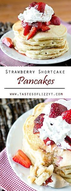 Classic, fluffy pancakes with strawberries and sugar streusel baked inside. Serve these Strawberry Shortcake Pancakes with macerated strawberries for a unique, irresistible breakfast! fun breakfast pancake recipe / unique strawberry shortcake recipe via @tastesoflizzyt
