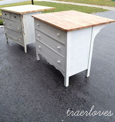 dressers turned kitchen islands.