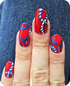 Concrete and Nail Polish: Nautical Nails