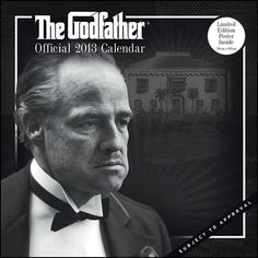 The Godfather Wall Calendar: A legendary movie is brought to life with photography in this wall calendar. Godfather fans should hold onto their movie seats once they get a load of the images featured in this magnificent wall calendar.  $14.99  http://calendars.com/Classic-Movies/The-Godfather-2013-Wall-Calendar/prod201300005109/?categoryId=cat00062=cat00062#