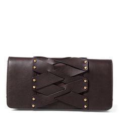 dc4ef109b398 Lauren Ralph Lauren Ludwick Wendy Small Lace-Up Clutch Handbags    Accessories - Macy s
