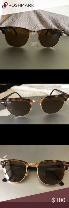 Authentic Ray-Ban Brown Classic Clubmaster Fleck Authentic Ray-Ban Brown Classic Clubmaster Fleck with Brown B15 lenses, Brown Tortoise Shell, Gold Frame. Feel free to make me an offer! Ray-Ban Accessories Sunglasses