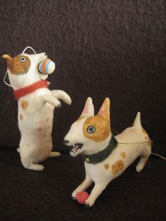 Vintage Inspired Spun Cotton Terrier Dog Miniature ornaments Maria Pahls Dog Christmas Ornaments, Clay Ornaments, Xmas, Felt Pincushions, Needle Felted Ornaments, Zipper Crafts, Faux Taxidermy, Pull Toy, Vintage Dog