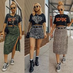 Three leopard skirts and three vintage tees ❤️ Which look is your fav? Punk Outfits, Fall Fashion Outfits, Retro Outfits, Short Outfits, Look Fashion, Stylish Outfits, Grunge Outfits, Lolita Fashion, Modest Outfits