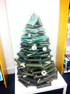 A Christmas tree made of books in the National Museums Scotland research library, Edinburgh (via @Jennifer on Twitter)