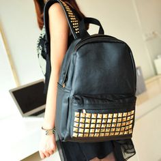 Women's NEW Black PU Leather rivets studded School bag Backpack Studded Backpack, Studded Bag, Leather Backpack, Punk Fashion, Fashion Bags, New Fashion, Fashion Accessories, Backpack Travel Bag, Fashion Backpack