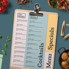 The Studio - A cool and contemporary menu design from the Print Waiter bespoke menu design service #menu #bar #food #design
