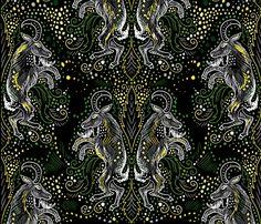 midnight goat damask fabric by beesocks on Spoonflower - custom fabric