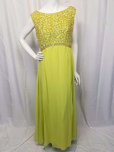 e3bbfbc3083 Vtg 60s Plus Size Formal Gown Dress Chartreuse Chiffon Iridescent Sequins  Empire  Unbranded  BallGown