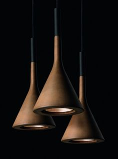 Great Lamp With Cone Shape by Lucidi and Pevere with brown colour