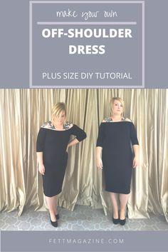 Plus size DIY. Off-shoulder dress.