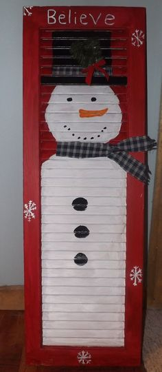 We had shutters on the house when we bought it . need to find them in the ho. - We had shutters on the house when we bought it . need to find them in the horse barn and repurpo - Snowman Crafts, Christmas Projects, Decor Crafts, Holiday Crafts, Holiday Fun, Wood Crafts, Diy Crafts, Holiday Decor, Pallet Crafts