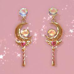 Rose Gold Jewelry, Resin Jewelry, Jewellery, Moon Earrings, Crystal Earrings, Aloe Vera Lip Balm, Sailor Moon Jewelry, Sailor Moon Merchandise, Fandom Jewelry