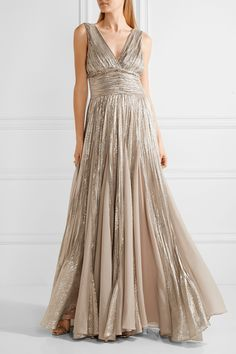 OSCAR DE LA RENTA Pleated chiffon-paneled silk-blend lamé gown