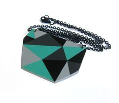 Geometric Triangle necklace Bluegreen