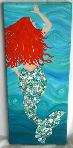 Mermaid Hand Painted Canvas With Shell Detail - Painting Mermaid Room, Mermaid Art, Mermaid Paintings, Mermaid Canvas, Mermaid Shell, Hand Painted Canvas, Canvas Art, Diy Canvas, Painting Canvas