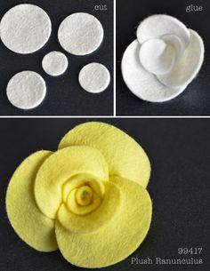 Plush Flower Tutorial - Outside The Box,post_tags] Handmade Flowers, Diy Flowers, Fabric Flowers, Paper Flowers, Ribbon Flower, Felt Diy, Felt Crafts, Fabric Crafts, Felt Flowers Patterns