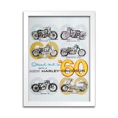 Quadro Decorativo Harley-Davidson - 1960 - Machine Cult - Kustom Shop   A loja das camisetas de carro e moto