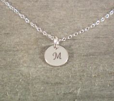 Tiny M Initial Monogramed Necklace Handstamped Jewelry