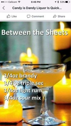 Between The Sheets Fun Cocktails, Cocktail Drinks, Brandy Cocktails, Cocktail Recipes, Liquor Drinks, Non Alcoholic Drinks, Beverages, Holiday Drinks, Christmas Drinks