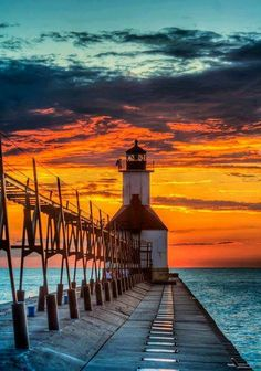 Sunset at the St. Joseph Lighthouse in St Joseph, Michigan ~by Sean Chess of Coldwater, MI