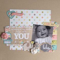 Kirsteen Young's layout using Simple Stories' Hello Baby. Mini Album Scrapbook, Scrapbook Bebe, Baby Girl Scrapbook, Baby Scrapbook Pages, Recipe Scrapbook, Birthday Scrapbook, Scrapbook Designs, Scrapbook Sketches, Scrapbook Page Layouts