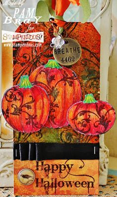 Scrapbook Flair: Happy Halloween Tag with Stampendous and Tombow Recycle Colored Pencils Halloween Tags, Holidays Halloween, Halloween Crafts, Happy Halloween, Card Tags, I Card, Gift Tags, Thanksgiving Cards, Paper Tags