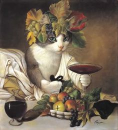 Draw Cats Melinda Copper Widget as Bacchus - WIDGET AS BACCHUS is a great print for cat lovers. Melinda Copper has provided some great still life art of fruit and wine around Widget. This print is available in an unframed image size of Cool Cats, Costume Chat, Art Et Illustration, Cat Illustrations, Wow Art, Still Life Art, Cat Drawing, Beautiful Cats, Crazy Cats