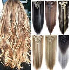 Days Delivery Highlight Straight Dip and Dye Ombre Clip in Hair Extension 26 Inches Full Head Clip in Extensions Synthetic Hair Extensions, Clip In Hair Extensions, Highlight, Dip, Your Hair, Delivery, Long Hair Styles, Finger, Beauty