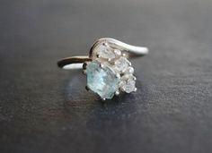Boho Raw Diamond Engagement Ring Rough Diamond Wedding Band Unique Gemstone Sterling Silver Promise Ring Size 5 Engagement Avello