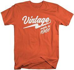 Shirts By Sarah Men's Vintage Made In 1961 T-Shirt Retro Birthday Shirts