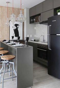 8 Fantastic Black Refrigerators You Will Definitely Want for Your Unique Kitchen Kitchen Interior, Interior Design Living Room, Kitchen Decor, Interior Decorating, Scandinavian Home, Kitchenette, Small Apartments, Sweet Home, Home Decor
