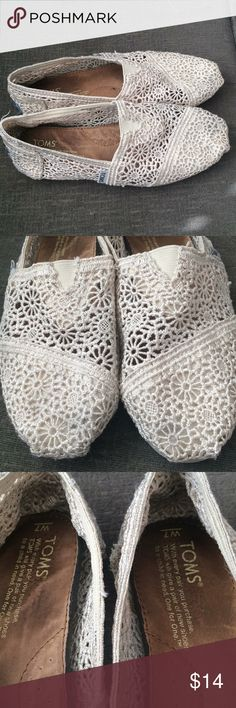 Lace slip on Toms Gently worn Lace Toms.  Good overall condition.  NO flaws. Toms Shoes Sandals