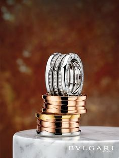 bzero1 rings in white gold with diamonds rose gold and tri color